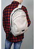 Стильный мужской серый рюкзак городской, повседневный, для ноутбука 15,6 матовая эко-кожа, фото 6