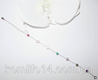 Серебряный браслет с натуральным аметистом,хризолитом,цитрином, изумрудом нано, рубином нано, фото 2