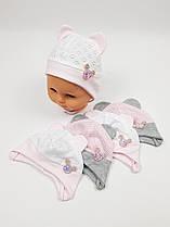 Летние детские шапочки в сеточку с ушками для девочек, р. 38-40, Польша (Ala Baby)