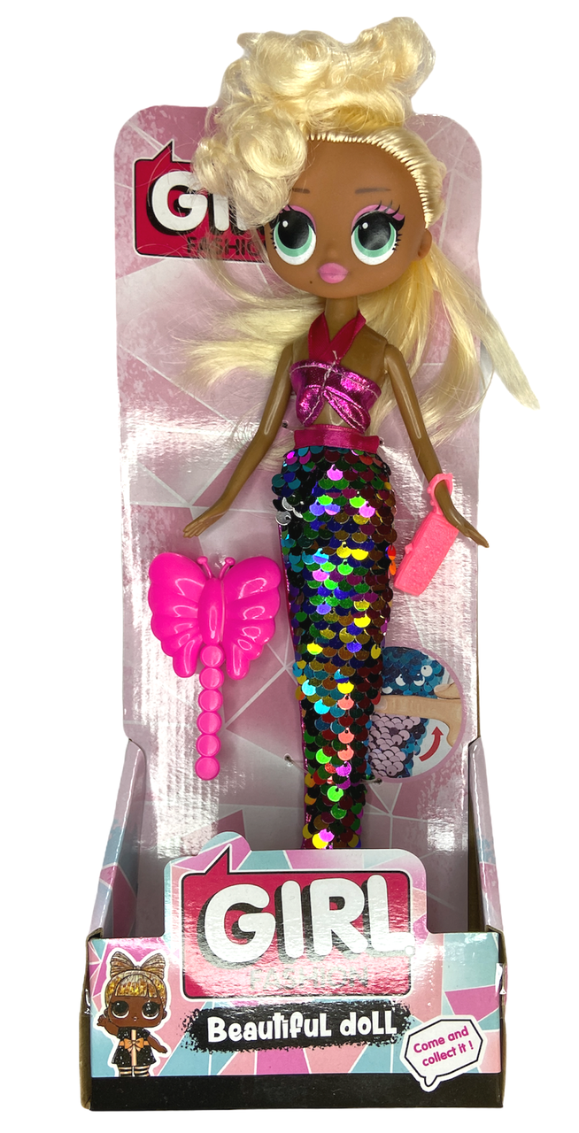 "Кукла  ""Girl Fashion""с пайетками  №1037А  30см с аксессуарами"