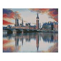 """Алмазная мозаика. Strateg FA20107 """"Отображение Лондона в Темзе"""" 40х50 см"""