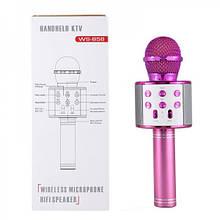 Безпровідний мікрофон караоке Wster WS 858 з Bluetooth, сумісний з телефоном і планшетом (рожевий)
