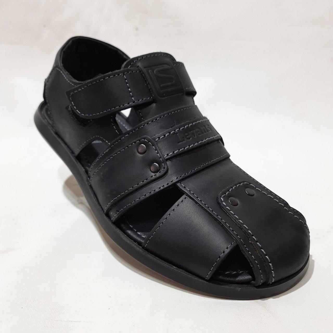 Чоловічі сандалі Levans босоніжки натуральна шкіра закриті Чорні
