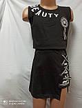 Платье летнее подростковое модное чёрного цвета с надписью и шнуровой. Размеры 110.116.122.128.134 рост., фото 2