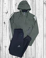 Мужской спортивный костюм Adidas хаки с черным трикотажный