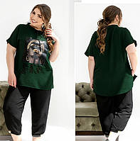 Женский летний костюм из легкого жатого крепа,темно-зеленый 50-52,54-56,58-60,62-64,66-68