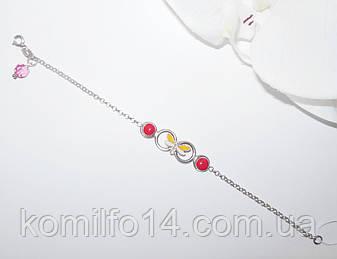 Дитячий срібний браслет з емаллю, фото 2