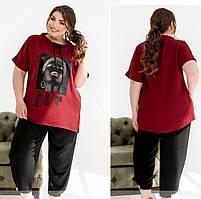 Женский летний костюм из легкого жатого крепа, бордовый 50-52,54-56,58-60,62-64,66-68