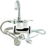 Бойлер кран. Проточный водонагреватель + душ. Делимано. Кран с нагревом, фото 4