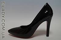 Черные лаковые туфли на шпильке, фото 1