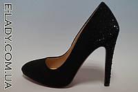 Замшевые черные туфли лодочки на шпильке