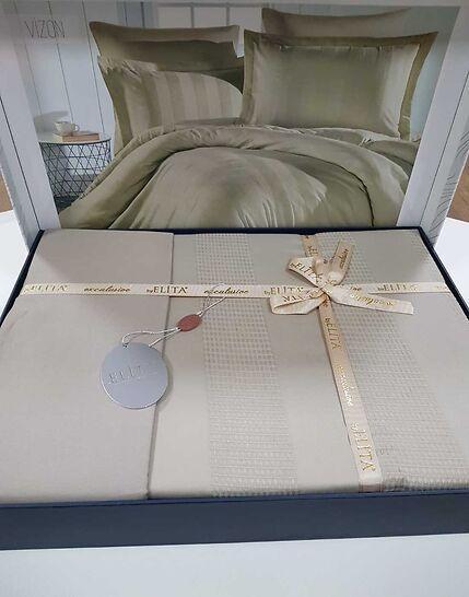 Постільна Білизна Сатин, Жаккард Двоспальне Євро 200*220 см Elita Туреччина Капучіно Vizion