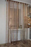 Нитяні штори (серпанок) Коричневий бежевий-молочний люрекс, фото 1