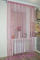 Нитяная штора (кисея) Тёмно-розовый(фрес)., фото 1