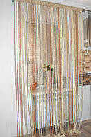 Нитяная штора (кисея) пружинки коричневые., фото 1