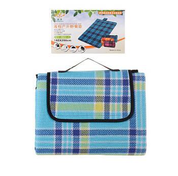 Водонепроницаемый коврикдля пикника кемпинга и пляжа голубой 140*200 см в клетку