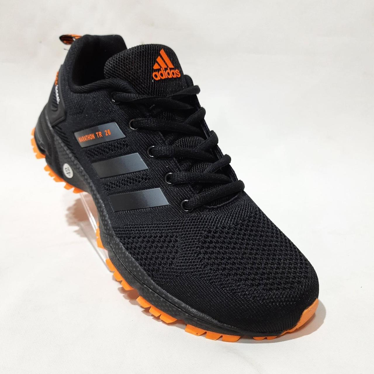 44 р. Літні чоловічі кросівки Adidass (репліка) сітка Чорні Остання пара