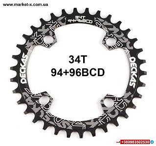 34Т 94+96BCD звезда круглая Deckas Narrow Wide для шатунов чёрная алюминий