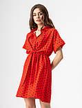 Короткое легкое платье в горох с пуговицами на груди в 5 цветах в размерах S-M, М-L., фото 4