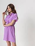 Короткое легкое платье в горох с пуговицами на груди в 5 цветах в размерах S-M, М-L., фото 5