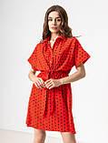 Короткое легкое платье в горох с пуговицами на груди в 5 цветах в размерах S-M, М-L., фото 6