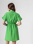 Короткое легкое платье в горох с пуговицами на груди в 5 цветах в размерах S-M, М-L., фото 7
