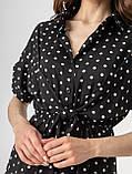 Короткое легкое платье в горох с пуговицами на груди в 5 цветах в размерах S-M, М-L., фото 8