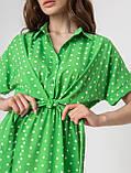 Короткое легкое платье в горох с пуговицами на груди в 5 цветах в размерах S-M, М-L., фото 2