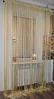 Нитяные шторы (кисея) однотонный бежевые., фото 1
