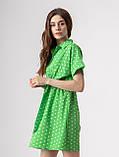 Короткое легкое платье в горох с пуговицами на груди в 5 цветах в размерах S-M, М-L., фото 10