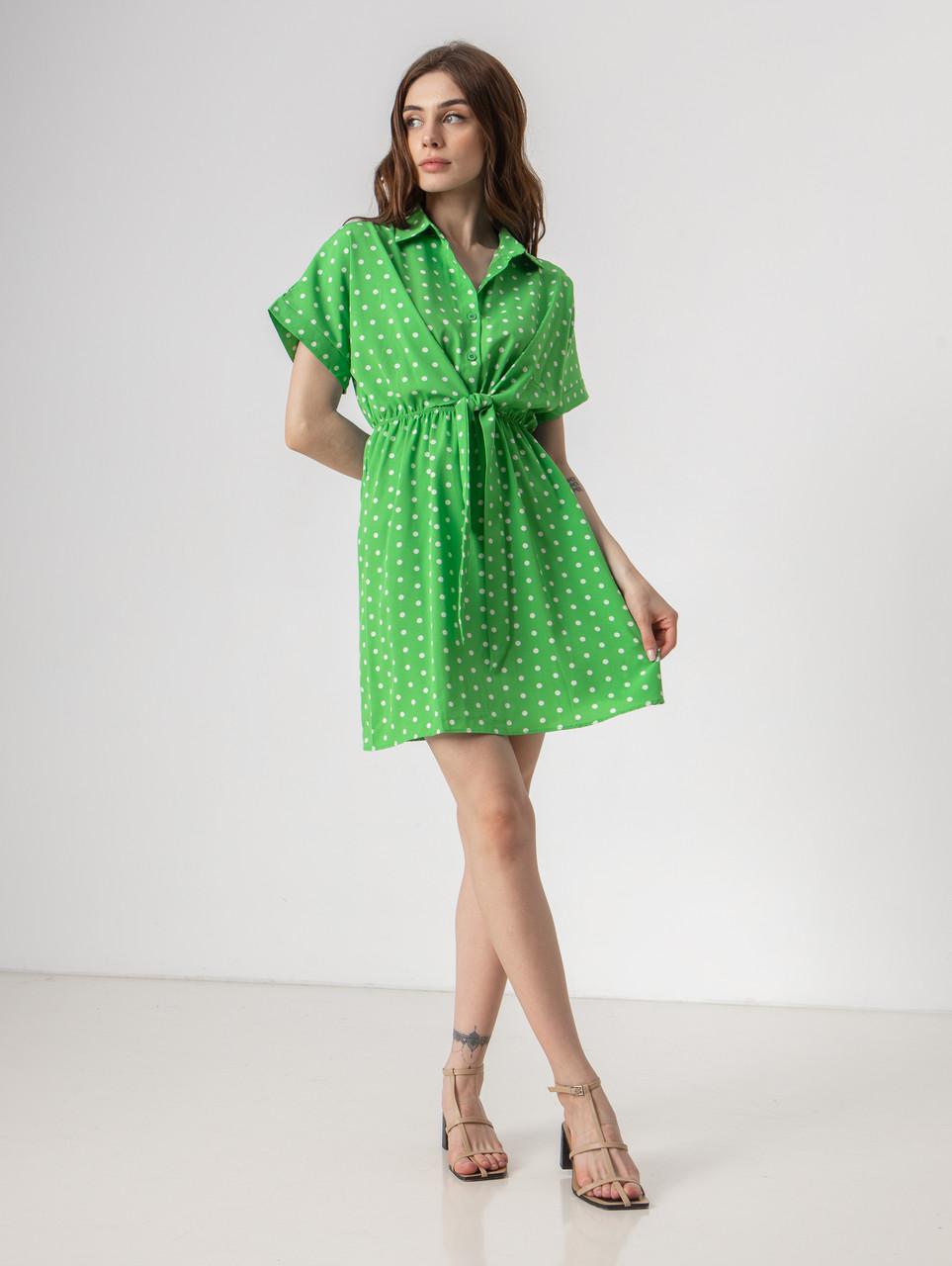 Короткое легкое платье в горох с пуговицами на груди в 5 цветах в размерах S-M, М-L.