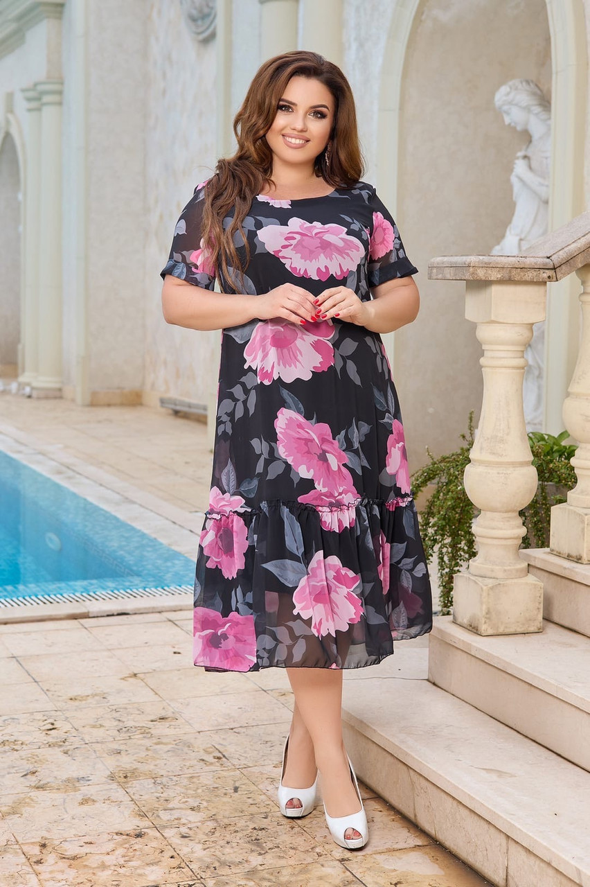 Літнє легке двошарове шифонове плаття з воланом по подолу, квітковий принт, батал великі розміри