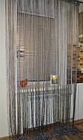 Нитяные шторы (кисея) Серая люрекс, фото 1