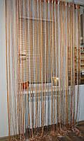 Нитяные шторы (кисея) оранжево-белая., фото 1