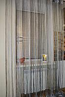 Нитяные шторы (кисея) Темносеро-белая., фото 1