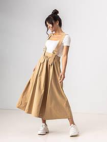 Легкая свободная юбка клеш длиною миди на подтяжках с карманами в 4 цветах в размерах S/M, L/XL. беж