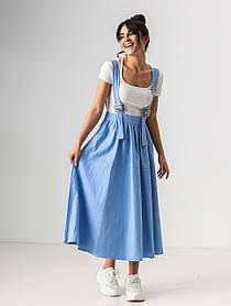Легкая свободная юбка клеш длиною миди на подтяжках с карманами в 4 цветах в размерах S/M, L/XL.