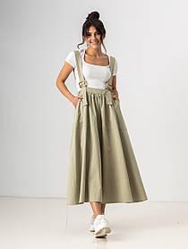 Легкая свободная юбка клеш длиною миди на подтяжках с карманами в 4 цветах в размерах S/M, L/XL. мятный