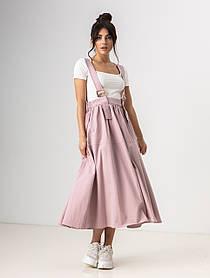 Легкая свободная юбка клеш длиною миди на подтяжках с карманами в 4 цветах в размерах S/M, L/XL. лавандовый