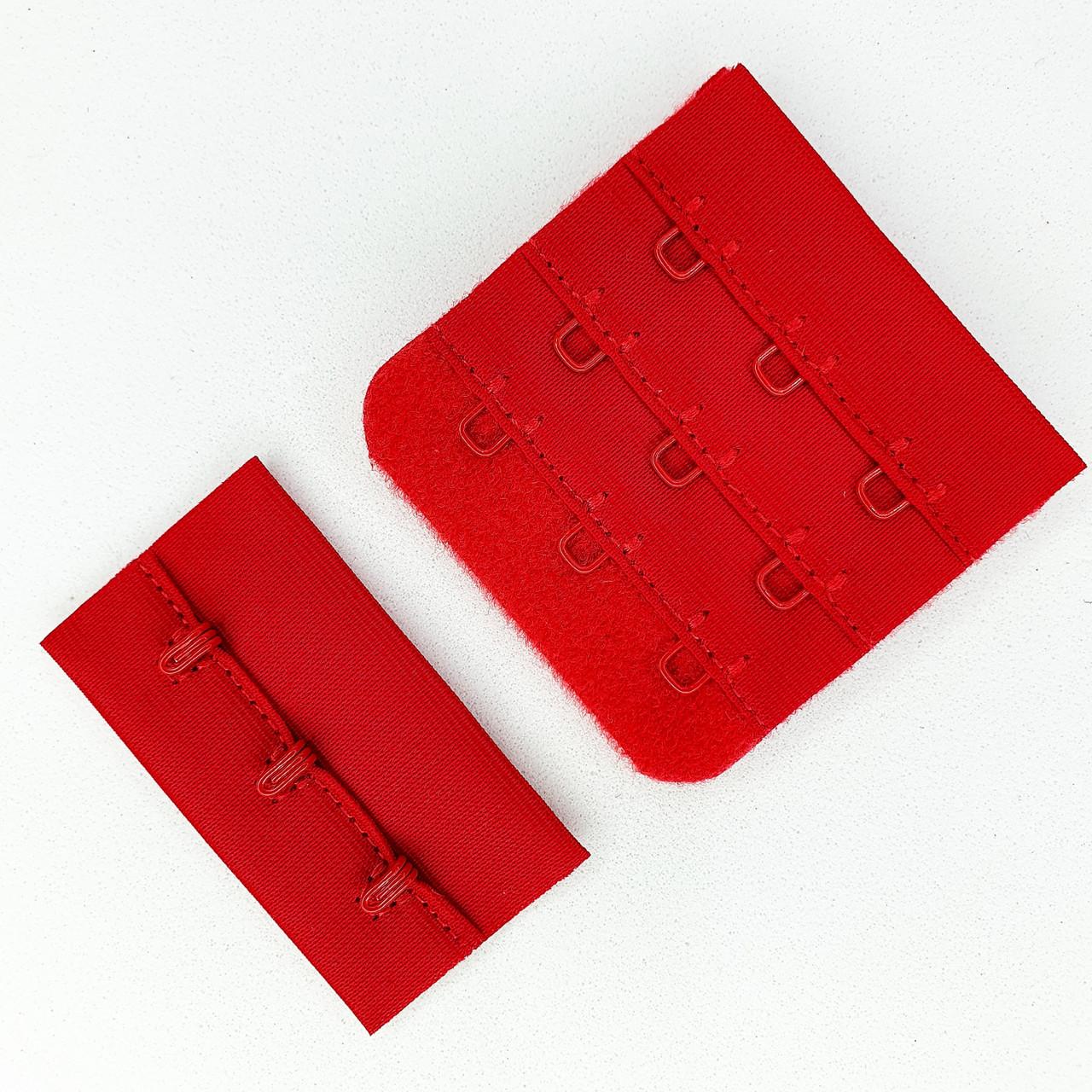 Подовжувач для бюстгальтера 3 гачка. Застібка бюстгальтера. Колір червоний (5шт)