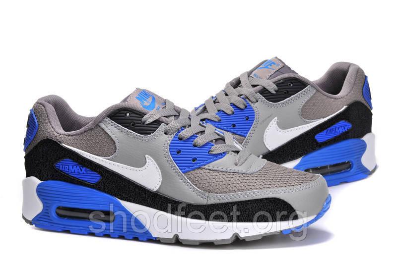 Мужские кроссовки Nike Air Max 90 Grey/Black/Blue
