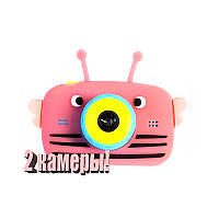 Детский цифровой фотоаппарат Children`s fun Розовая Пчелка Селфи Selfie 20Мп (BPBS)