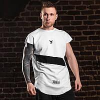 """Белая мужская футболка с черными принтами """"Anti order"""" от бренда Egoeast"""