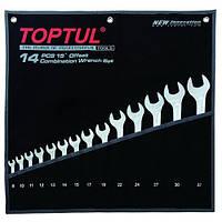 Набор ключей комбинированных 14 шт 8-32 мм TOPTUL Hi-Performance GPAX1401, набор рожково-накидных ключей