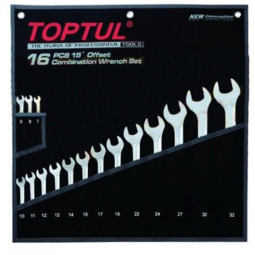 Набор ключей рожково-накидных TOPTUL 16 шт. 7-32 Hi-Performance GPAX1601, набор гаечных ключей комбинированных