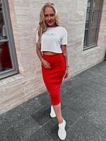 Женский летний костюм с юбкой красный