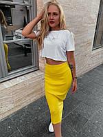 Женский летний костюм с юбкой желтый