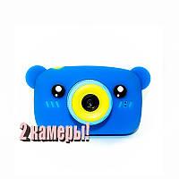 Original Детский цифровой фотоаппарат Children`s fun Синий Мишка 20Мп Селфи Selfie (BBMS)