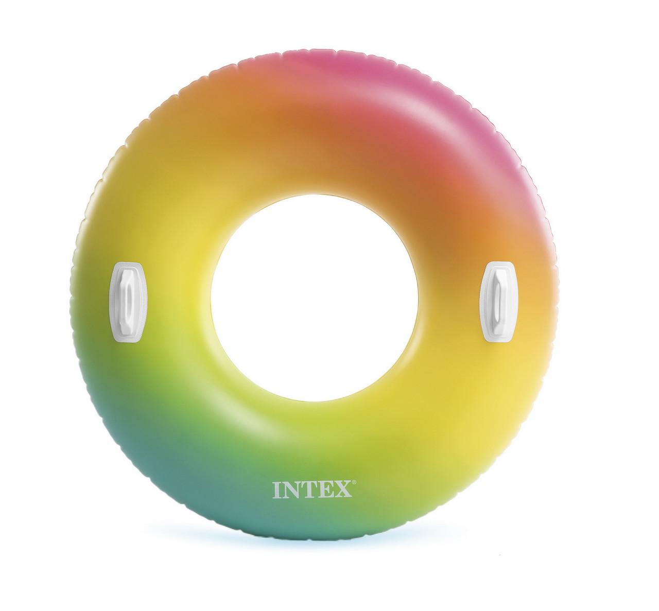 Круг надувной Интекс 119см Цветные капли с ручками 58202