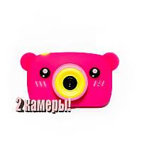 Оригинальный Детский цифровой фотоаппарат Children`s fun Розовый Мишка 40М Селфи Selfie (PPMS)